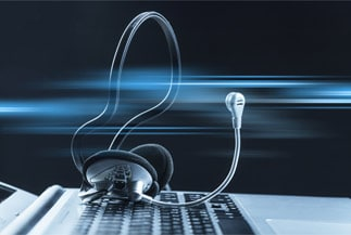 Headset Sitting on Keyboard