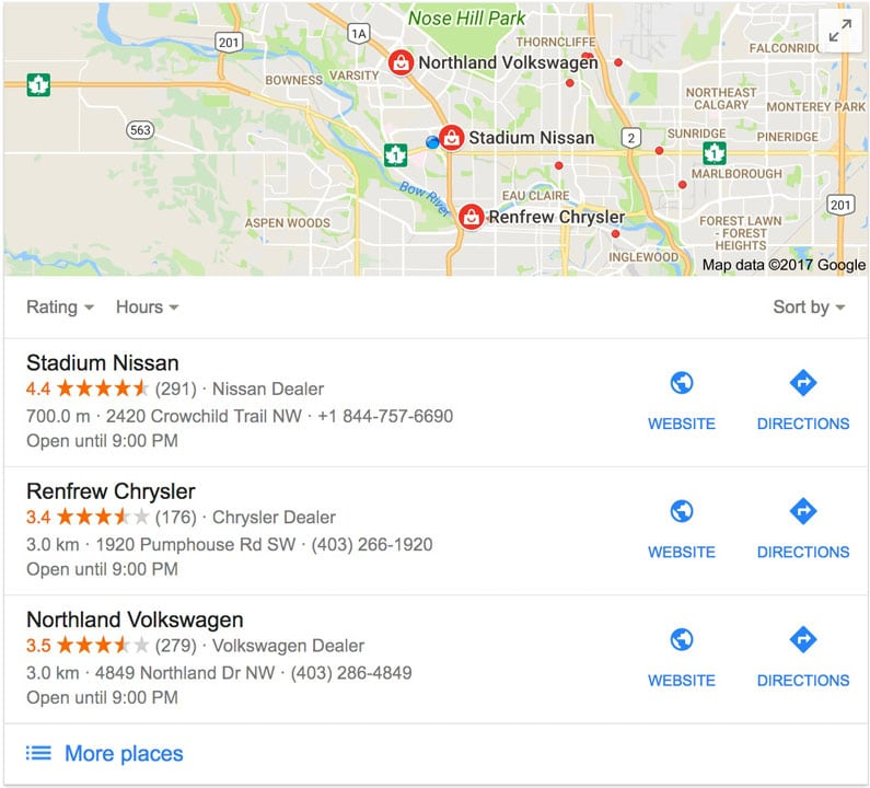 Calgary Google Maps Screenshot