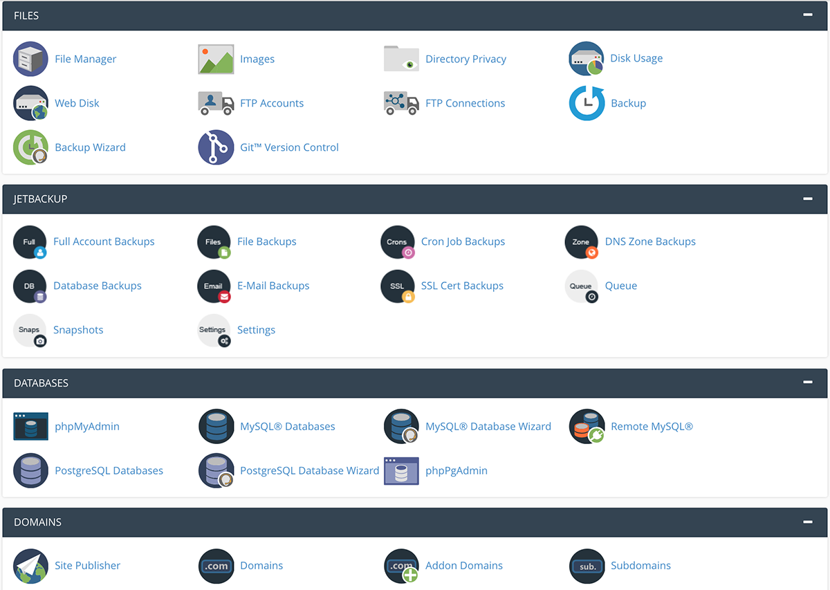 Dashboard of Hosting Cpanel