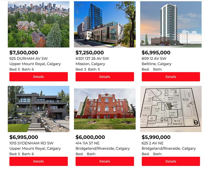 Calgary Property Listings on Website