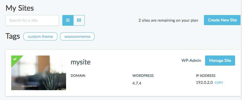 Dashboard of Managed WordPress
