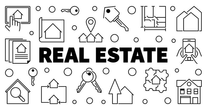 Real Estate Vector Horizontal Outline Banner