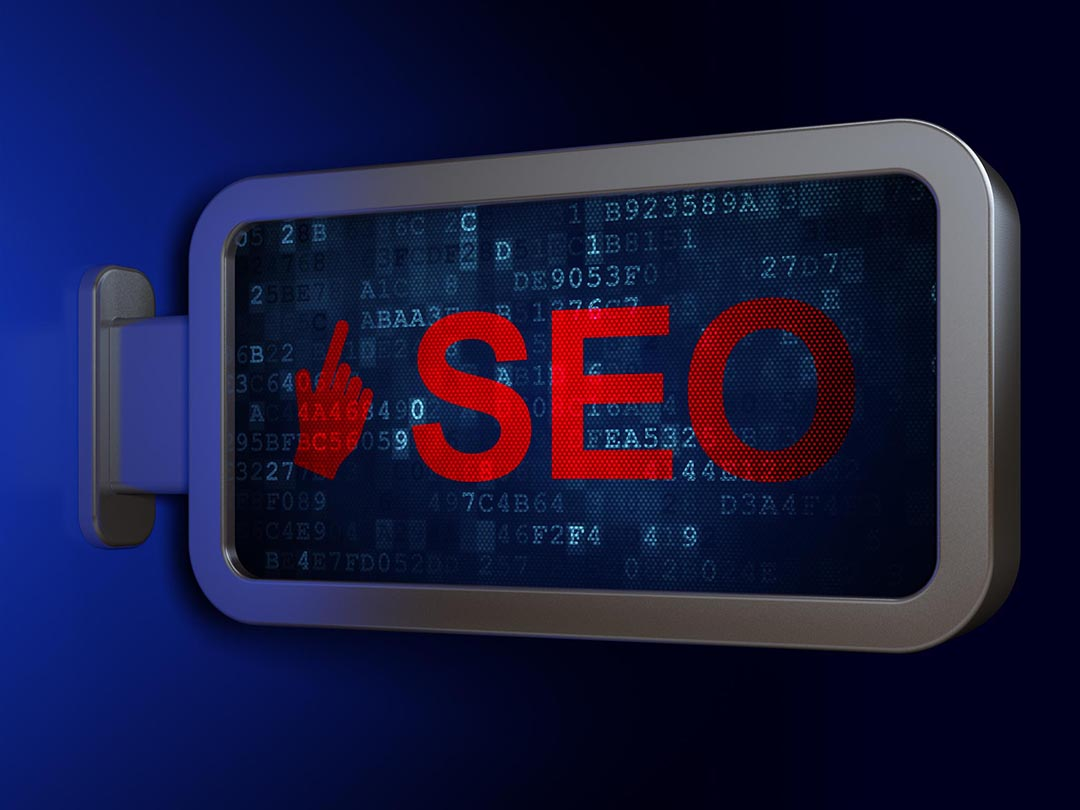 Red and Blue SEO Sign in Calgary